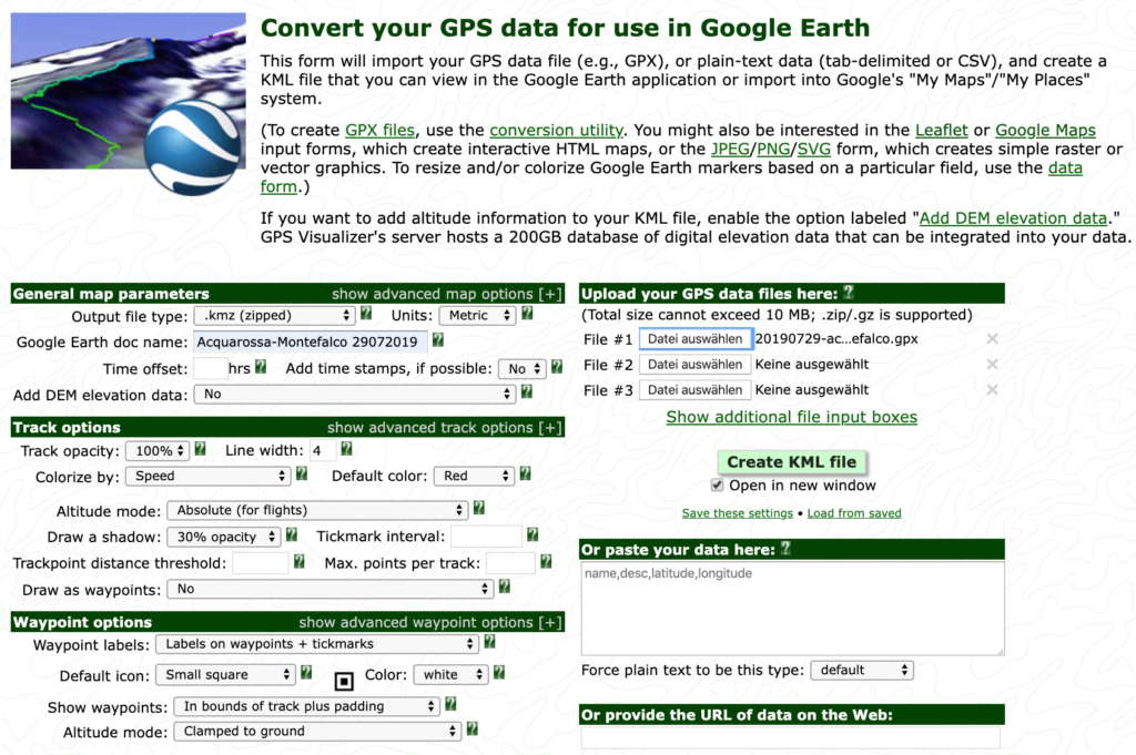 Creating tracks for Google Earth from GPX files - /dev/air